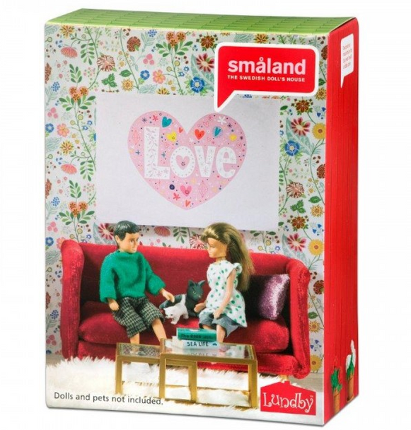 Lundby Smaland Red Sitting Room Set