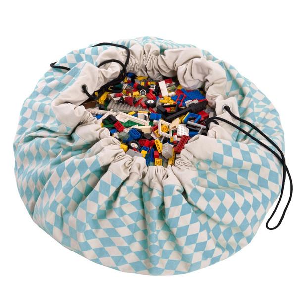 Play & Go Lego Toy Storage Bag in Diamond Blue print