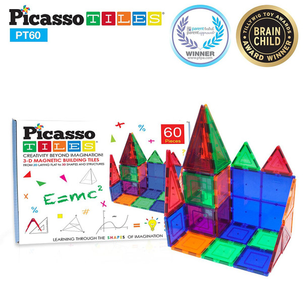 PicassoTiles 60 Piece Magnet Building Set