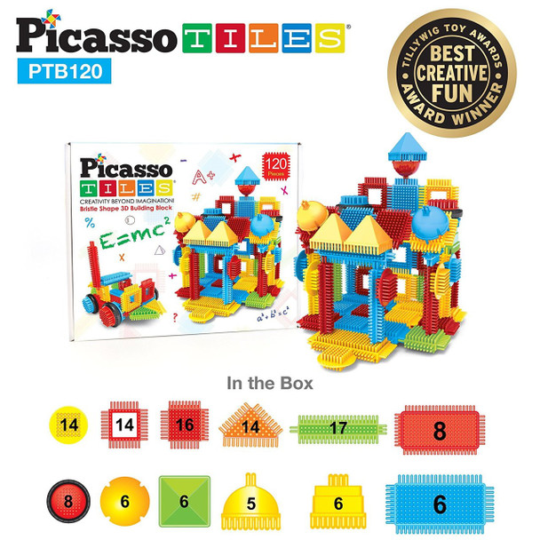 PicassoTiles PTB120 120pcs Bristle Shape  Building Block  Construction