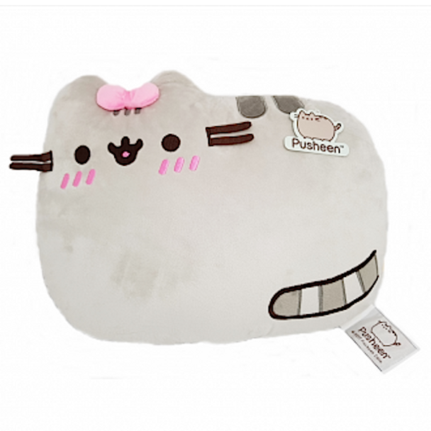 Pusheen Cushion Grey with Pink Bow 36cm