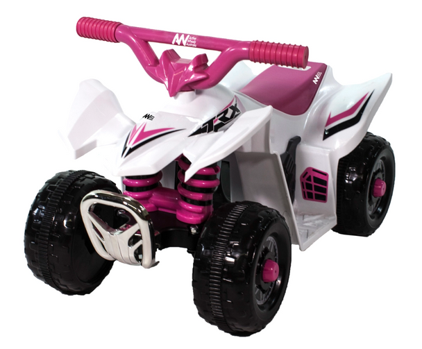 TRX Electric Ride-On Mini Quad Bike ATV Style	6 Volt Ride On Colour White-Pink