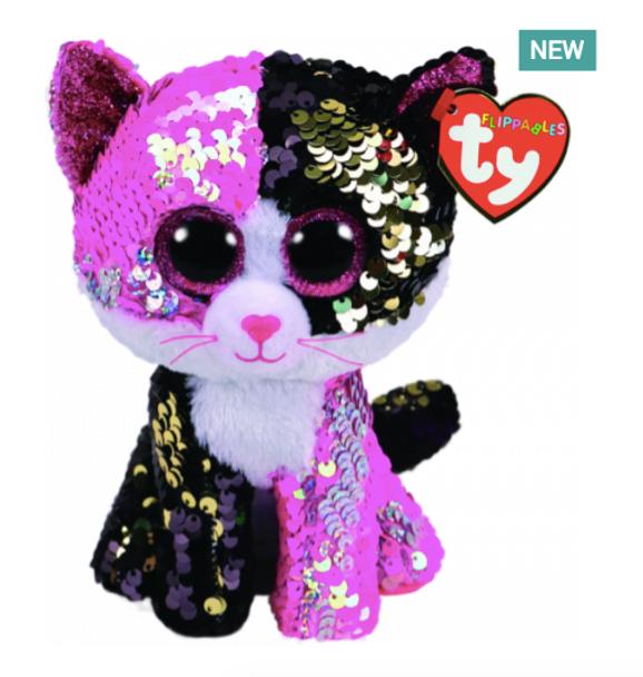 TY Flippables 36261 Malibu Pink-Black Cat - 18cm