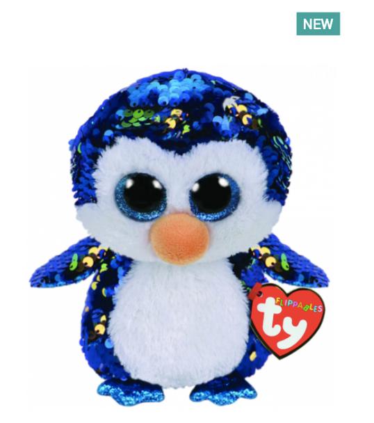 TY Flippables 36264 Payton Blue-Gold Penguin Regular -18cm