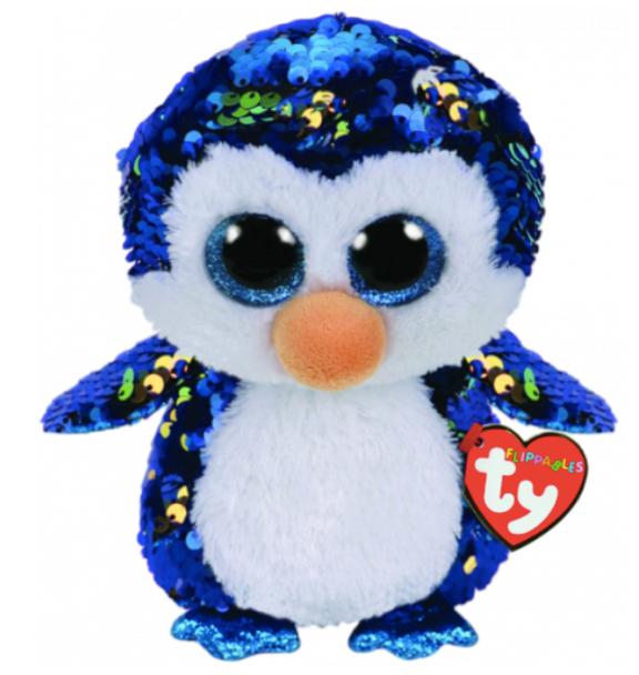 TY Flippables 36434 Payton Blue-Gold Penguin Medium - 24cm