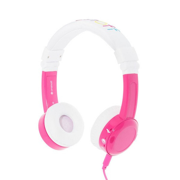 BuddyPhones InFlight Travel Headphones with Volume Control for Kids - Pink