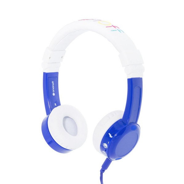 BuddyPhones InFlight Travel Headphones with Volume Control for Kids - Blue