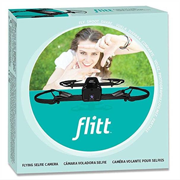 Flitt Flying Pocket Selfie Camera Drone 720p HD Video and Optical Flow Gloss Black