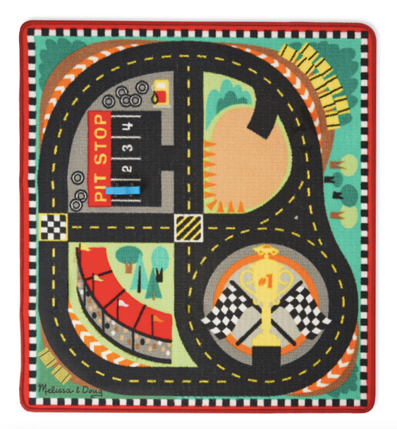 Melissa & Doug Round The Speedway Race Track Rug with 4 Race Cars