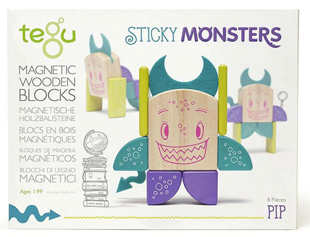 Tegu - Magnetic Wooden Blocks Sticky Monsters 8 Pieces - Pip