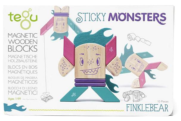 Tegu - Magnetic Wooden Blocks Sticky Monsters 10 Pieces - Finklebear
