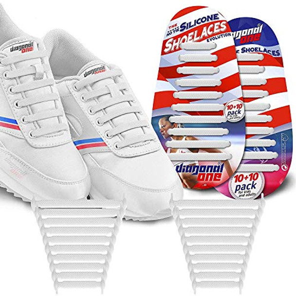 DIAGONAL ONE No Tie Shoelaces for Kids & Adults (White)