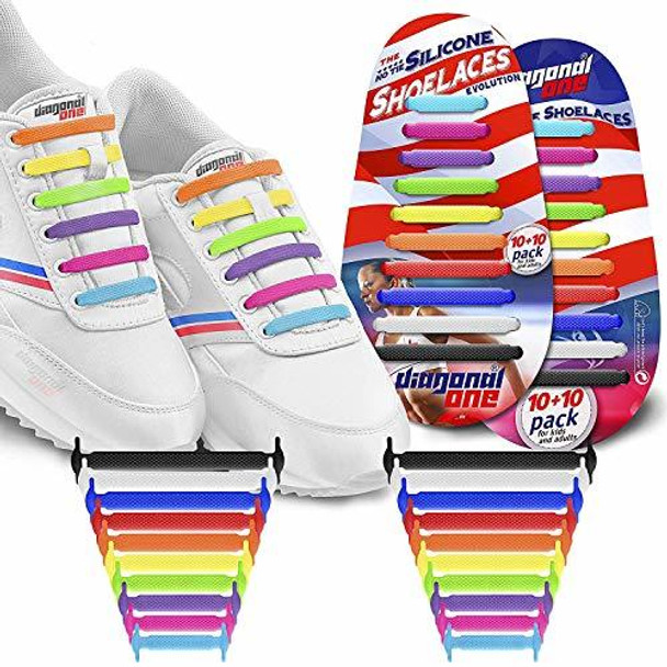 DIAGONAL ONE No Tie Shoelaces for Kids & Adults (Multicolour)