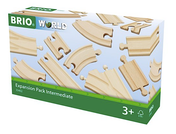 BRIO World Expansion Pack Intermediate Wooden Track - 16 pieces