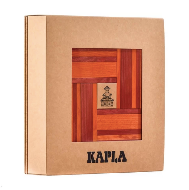 KAPLA 40 Piece Two Colour Wooden Set - Red and Orange - with KAPLA Art Book