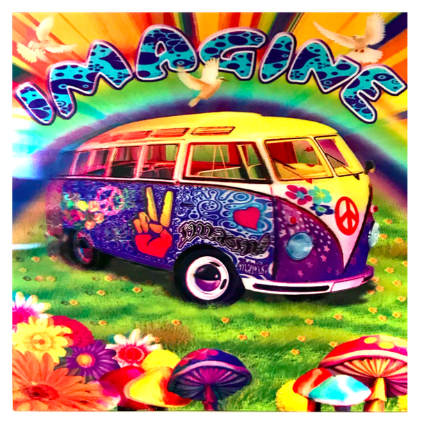 3D LiveLife Holographic Large Greeting Card - Peace Van