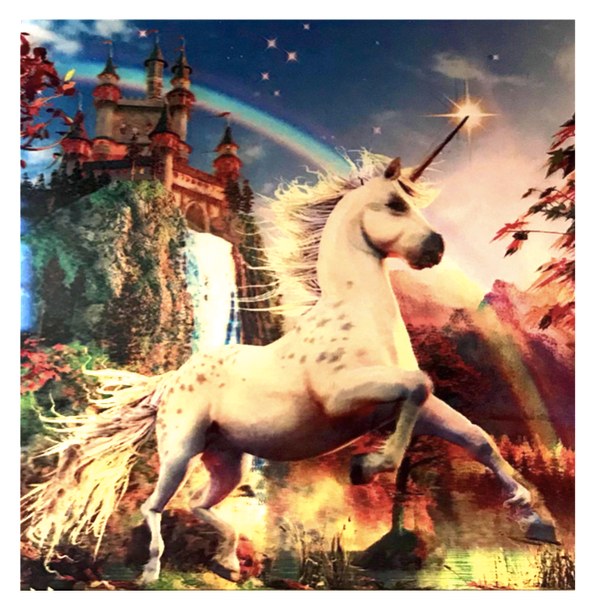 3D LiveLife Holographic Large Greeting Card - Unicorn Evening Star