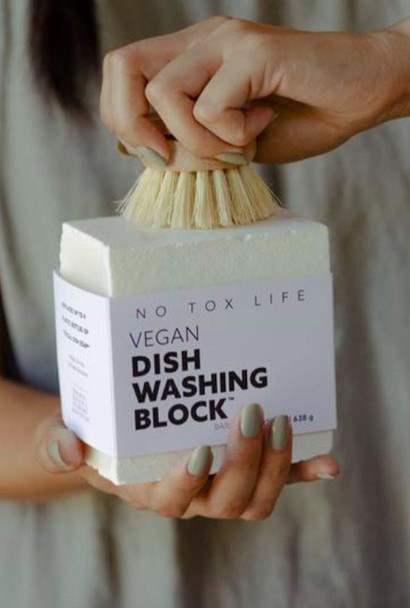 No Tox Life Zero Waste Extra Large Vegan Dish Washing Block 638g + FREE Eco Dish Brush