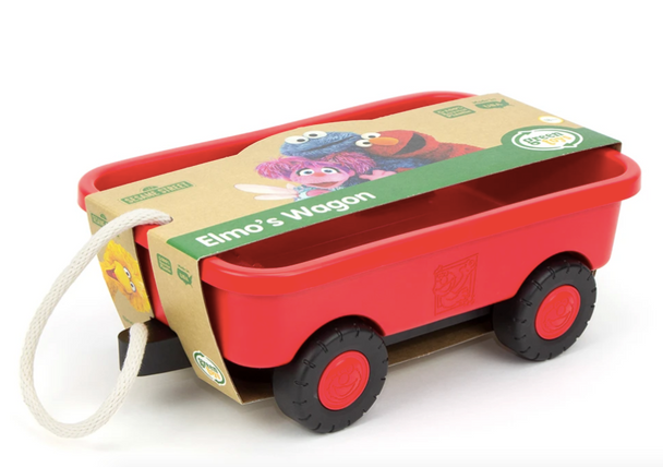 Green Toys Sesame Street Elmo's Wagon - 100% Recycled Plastic Pull-Along Toy