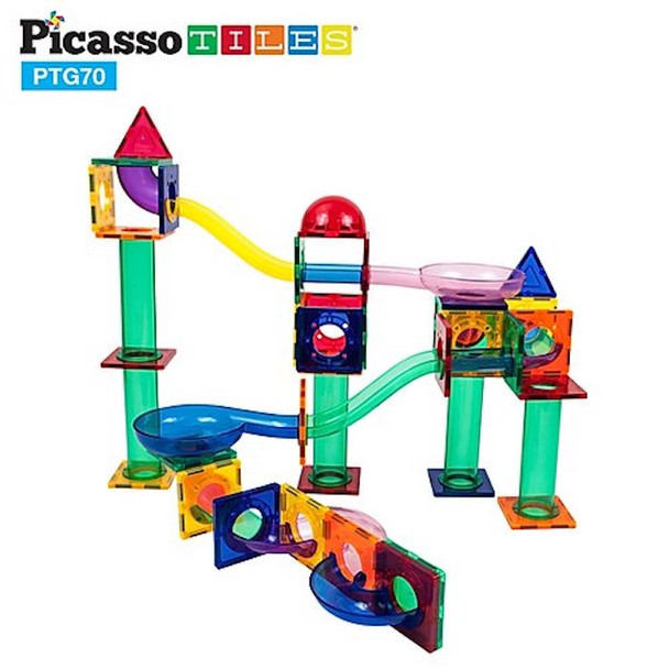 PicassoTiles® 70 Piece Marble Run PTG70 - Clear Magnetic 3D Building Blocks