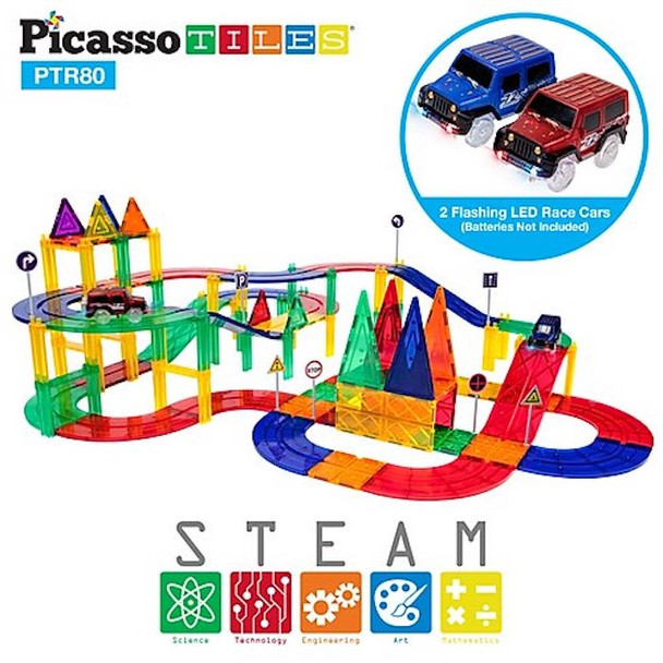 PicassoTiles® 80pc Race Track PTR80 - Clear Magnetic 3D Building Blocks