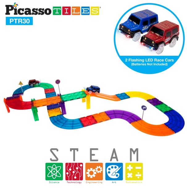 PicassoTiles® 30pc Race Track PTR30 - Clear Magnetic 3D Building Blocks