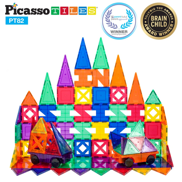 PicassoTiles 82 Piece Creativity Set Magnetic Building Tiles - 10 Different Shapes