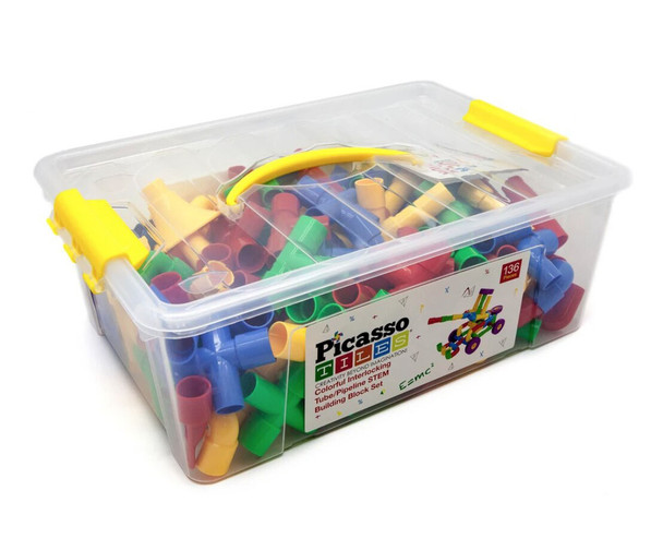 PicassoTiles PTT136 Tube Building Block Set with Musical Kit