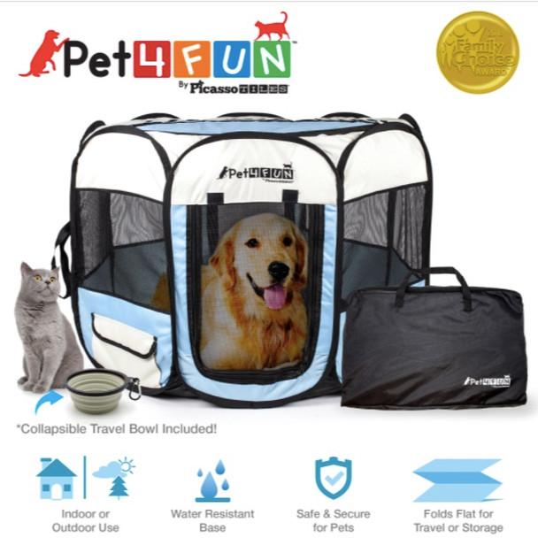 PicassoTiles PET4FUN® Portable Pet Playpen Kennel Blue - Large