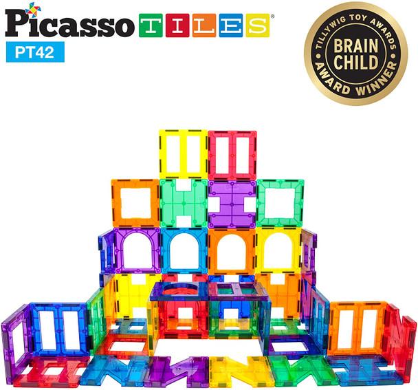 PicassoTiles 42 Piece Set Magnet Building Tiles - Clear Magnetic 3D Building Blocks (PT42)