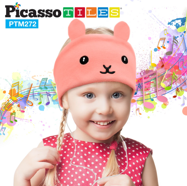 PicassoTiles® Kid Safe Headphones with Fleece Headband - Rabbit