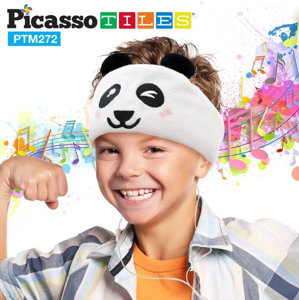PicassoTiles® Kid Safe Headphones with Fleece Headband - Panda (PTM272-PND)