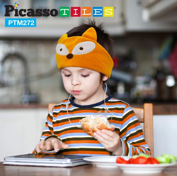 PicassoTiles® Kid Safe Headphones with Fleece Headband - Fox (PTM272-FOX)