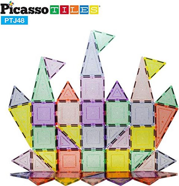 PicassoTiles 48 Piece Magnetic Blocks Magnet Tiles Magnets Building Blocks Construction Toy Set with Reflective Leaf Flakes Magnetic Building Tiles Toys STEM Learning Kit Stacking Block Playset PTJ48
