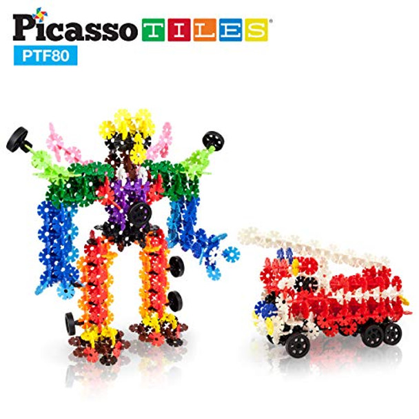 PicassoTiles Building Flakes 800 Piece Interlocking Construction Blocks with 10 Wheels STEM Creative Disc Age 3 and Up