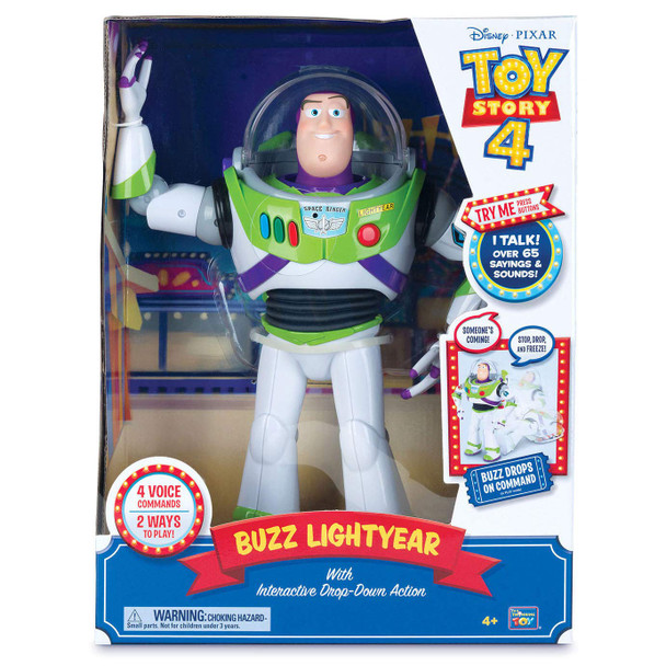 Disney Pixar Toy Story 4 Buzz Lightyear Feature with Interactive Drop-Down Action