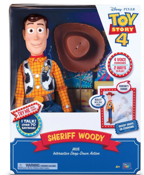 Disney Pixar Toy Story 4 Feature Sheriff Woody, with Interactive Drop-Down Action