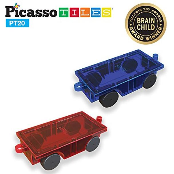 PicassoTiles 2 Piece Car Truck Set  PT20 w/ Extra Long Bed & Re-Enforced Latch, for PicassoTiles Magnet Building Tile Magnetic Blocks -Creativity Beyond Imagination!