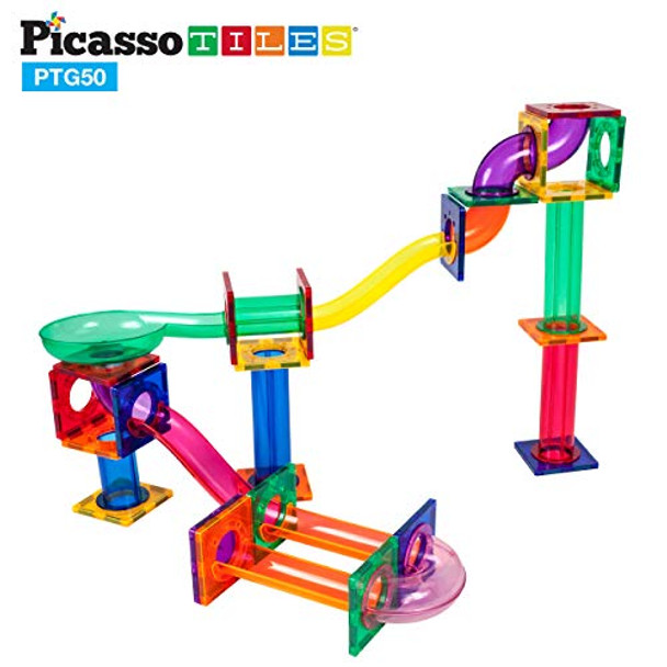PicassoTiles Marble Run 50-Piece Magnetic Tile Race Track Toy Play Set