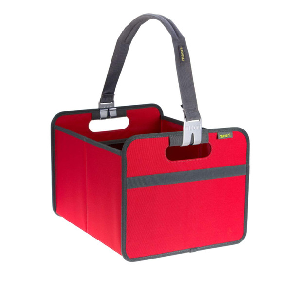 Medium Foldable Shopping Box 6.5 Gallon Hibiscus Red and Removable Carrying Handle Handsfree Grocery & Farmers Market Shopper Combo by meori