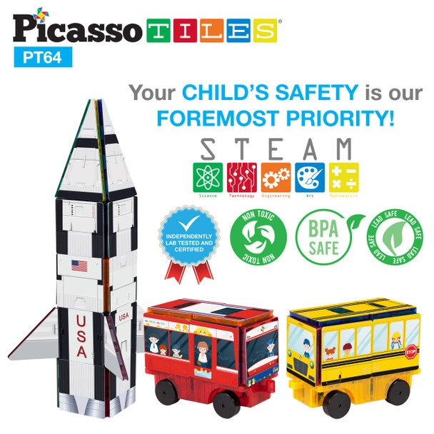 PicassoTiles Magnet Building Blocks STEM Learning Construction Toy Set Early Education Kit 3-in-1 Rocket, School Bus, Train Theme Stick-On Puzzle Pretend Play Magnetic Tiles Kids Building Block Toys 3+ Years
