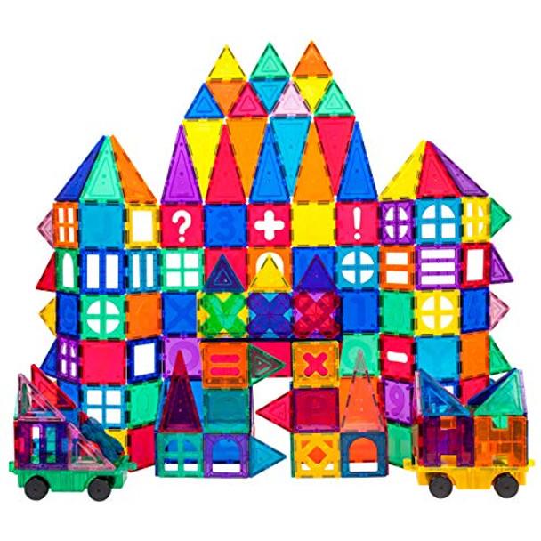 PicassoTiles 180 Piece Set 180pc Building Block Toy Deluxe Construction Kit Magnet Building Tiles Clear Color Magnetic 3D Construction Playboards Educational Blocks Creativity Beyond Imagination 3+ Years