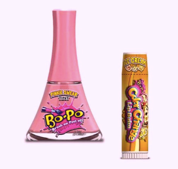 Bo-Po Pinky Swear Nail Polish with Bonus Ice Cream Colour Change Lip Balm
