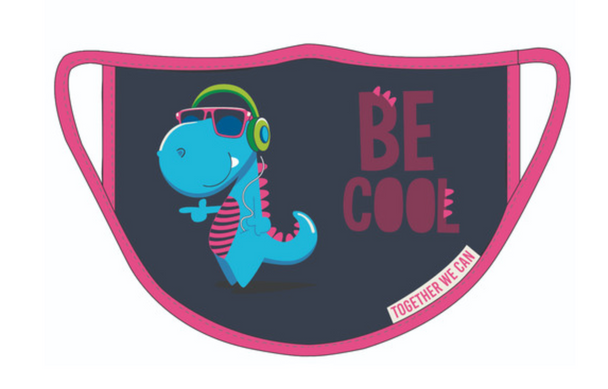 Dinosaur 'Be Cool' Triple Layer Face Mask - Pack of 2