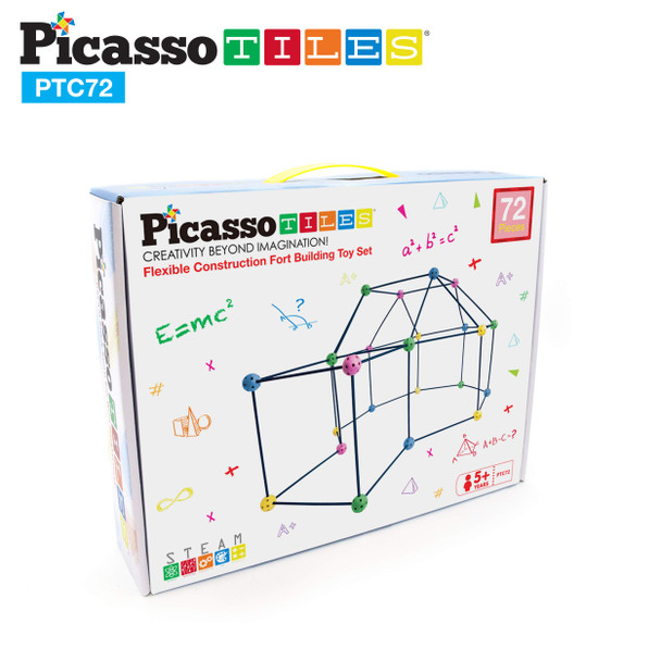 PicassoTiles 72 Piece  Kids Fort Building Play set Indoor and Outdoor Pretend Play