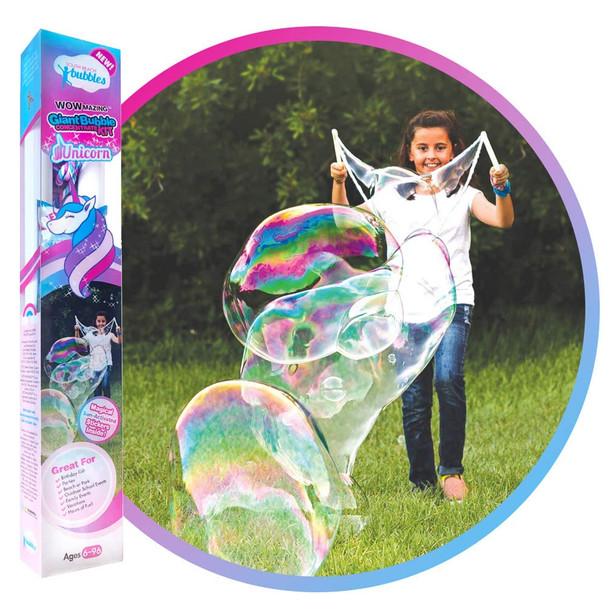 WOWMAZING Unicorn Giant Bubble Kit: Incl. Wand, 2 Big Bubble Concentrate Pouches and 8 Sun-Activated Magical Stickers   Outdoor Toy for Kids, Girls   Bubbles Made in The USA