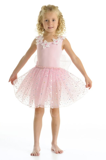 Fairy Girls Dust Pink Tutu Dress with Wings - Large