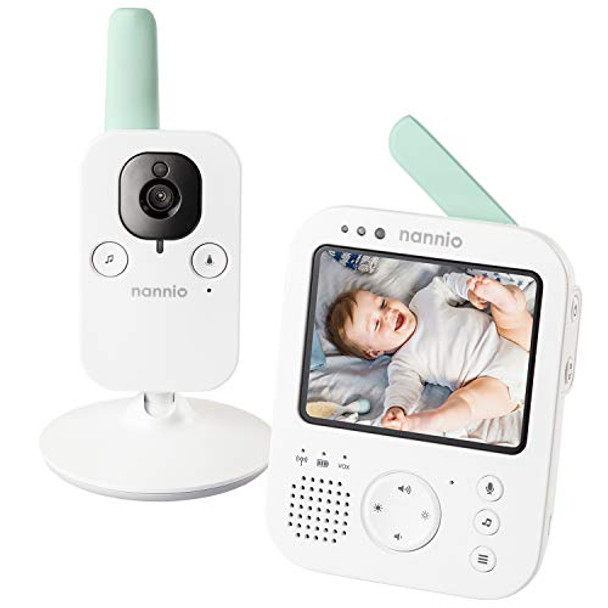 NANNIO Hero3 Video Baby Monitor with Vibration Alerts for Hearing Impaired Parents, Baby-Safe Night Light, 5 Preloaded Lullabies, Temperature Sensor, Digital Zoom, Two-Way Talk - 985ft Range