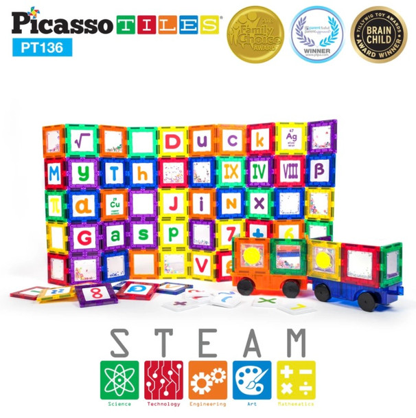 PicassoTiles® 136 Building Block Set with 66 Magnetized Clip-in Cards - PT136 Magnetic Building Tiles