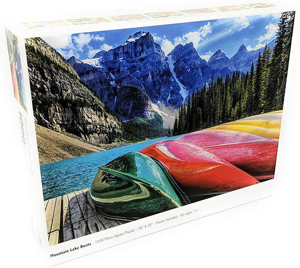 Jigsaw Puzzles for Adults: Mountain Lake Boats - 1000 Unique Pieces - Made in The USA by Color Craft Puzzles - Challenge Any Puzzle Lover